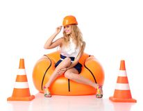 Happy construction girl Royalty Free Stock Image