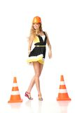 Happy construction girl stock images