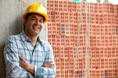 Happy construction worker Royalty Free Stock Image