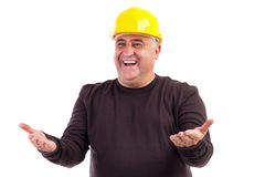 Happy construction worker with his arms outstretched. Isolated on white background Stock Image