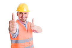 Happy constructor smiling and showing thumbs up Royalty Free Stock Photo