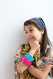 Happy contemplative white young girl smiling Stock Photography