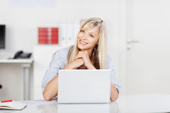 Happy contented businesswoman Stock Images