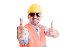 Happy contractor or builder showing thumbsup Stock Photos