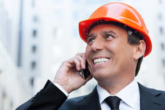 Happy contractor. Royalty Free Stock Photography