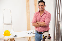 Happy contractor at work Stock Photo