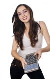Happy controlling young woman Royalty Free Stock Photo