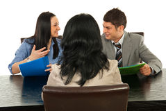 Happy conversation at interview Royalty Free Stock Photo