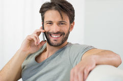 Happy conversation on the phone Stock Images
