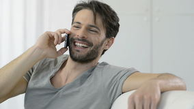 Happy conversation on the phone stock footage