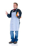 Happy cook. With thumbs-up on white background, reflective surface Stock Photos