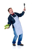 Happy cook. Showing fresh salad and spoon on white background, reflective surface Stock Image