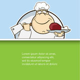 Happy Cook chef with meat flat design cartoon. Vector illustration modern poster Stock Image