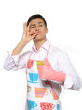 Happy cook man in apron smiling Royalty Free Stock Image