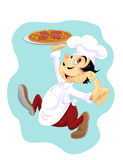 Happy cook with pizza. Italian cook running with plate with pizza on it Royalty Free Stock Images
