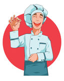 Happy cook vector illustration. Happy cook smiling man. Gourmet illustration concept Stock Photos