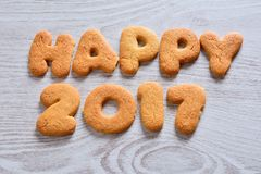 Happy 2017 cookies Royalty Free Stock Photography
