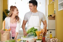 Happy cooking couple stock photography