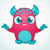 Happy cool cartoon fat monster. Pink and horned vector monster character. Stock Image