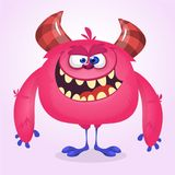 Happy cool cartoon fat monster. Pink and horned vector monster mascot. Stock Image