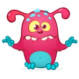 Happy cool cartoon fat monster. Pink and horned vector monster mascot outlined. Royalty Free Stock Photos