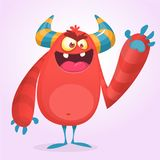 Happy cool cartoon fat monster. Red and horned vector monster character. Royalty Free Stock Image