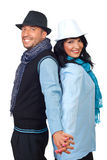 Happy cool couple holding hands Royalty Free Stock Photos