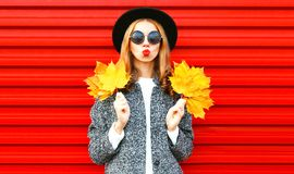 Happy cool girl with red lips holds yellow maple leaves Stock Photography