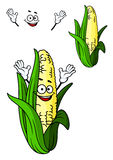 Happy corn on the cob with a big smile. Happy fresh corn on the cob with a big smile and green leaves in cartoon style isolated on white Stock Photo