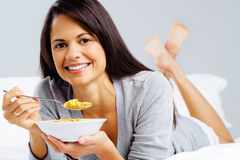 Happy cornflake girl Stock Photo