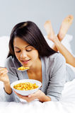 Happy cornflake girl Stock Photos