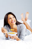 Happy cornflake girl Royalty Free Stock Photo