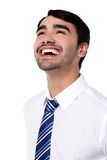 Happy corporate male looking upwards Stock Photo