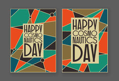 Happy cosmonautics day card Royalty Free Stock Photo