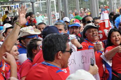 Happy Costa Rica soccer fans Stock Images