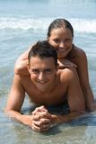 Happy couple. Young couple in the water Stock Photography
