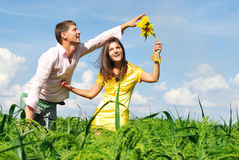 Happy couple. Loving couple spends time outdoors Stock Photography