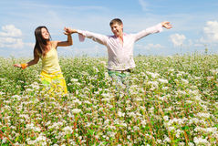 Happy couple. Young couple spends time outdoors Royalty Free Stock Photography