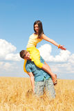Happy couple. Young couple spends time outdoors Stock Photos