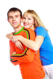 Happy couple. Happy young couple, beautiful girl and her boyfriend embrace and laugh Royalty Free Stock Images