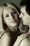 Happy couple. Guy with pretty woman, happy couple, very close face, girl look on camera Royalty Free Stock Photo
