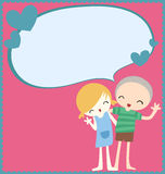 Happy couple. Cute couple with text bubble card Royalty Free Stock Photos