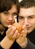 Happy couple. The young couple saving money Stock Image