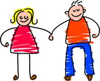 Happy couple. Toddler style drawing of a happy couple holding hands Royalty Free Stock Image