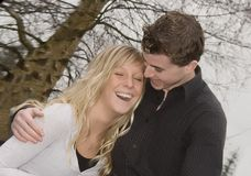 Happy couple. Young teenage couple laughing together Stock Photo