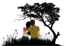 Happy couple. An illustration of a couple sitting under a tree Royalty Free Stock Photography