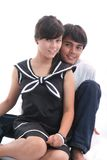 Happy couple. Happy young couple embracing with uniform Royalty Free Stock Photography