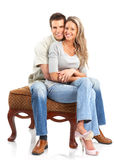 Happy couple. Happy smiling couple in love. Over white background Royalty Free Stock Photos