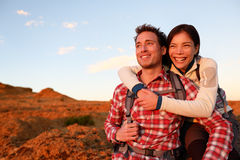 Happy couple active lifestyle hiking outdoors Stock Photos