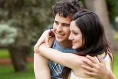 Happy couple against the nature Royalty Free Stock Photos